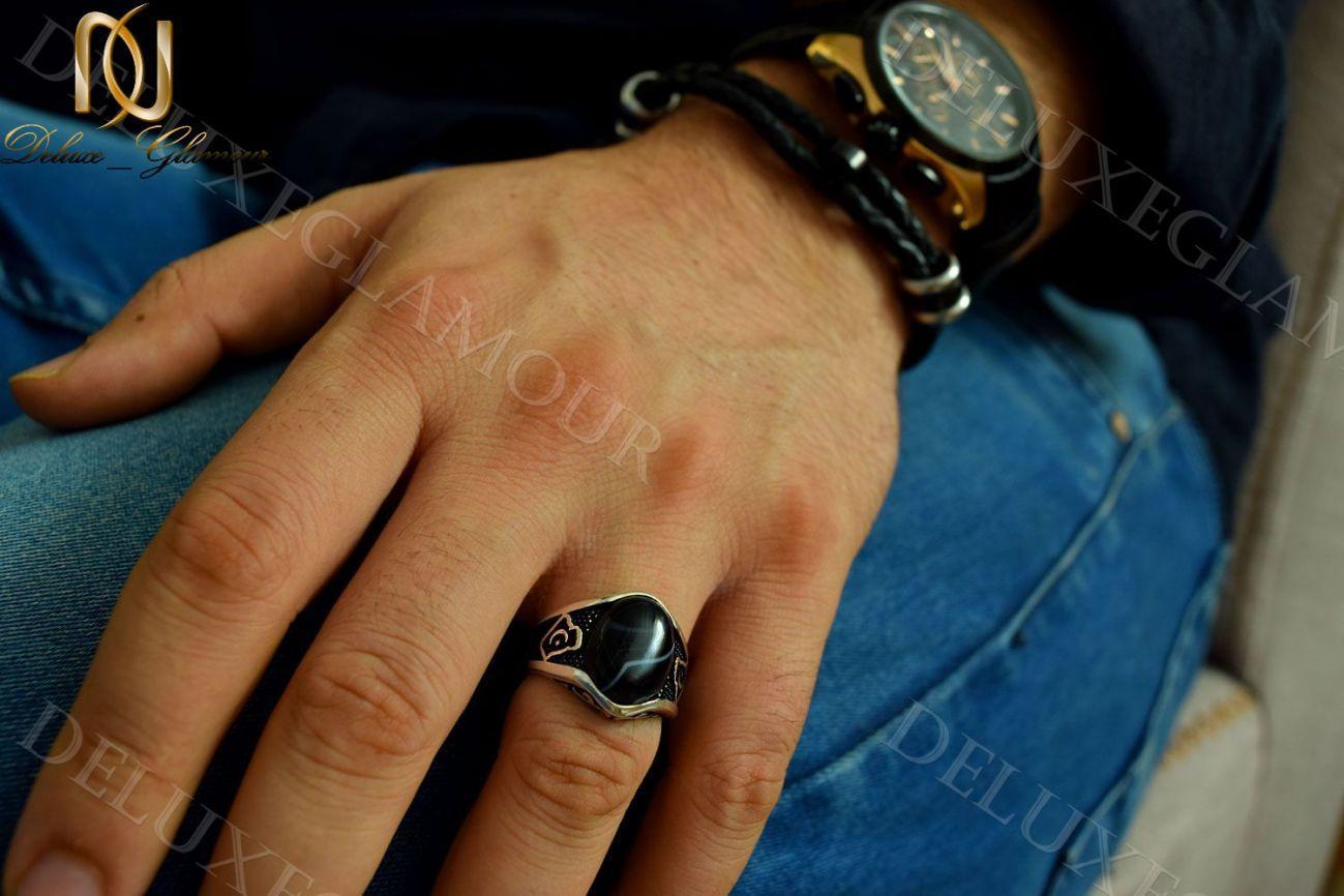 انگشتر نقره مردانه با نگین عقیق و مارکازیت Rg-n206 (3)_1