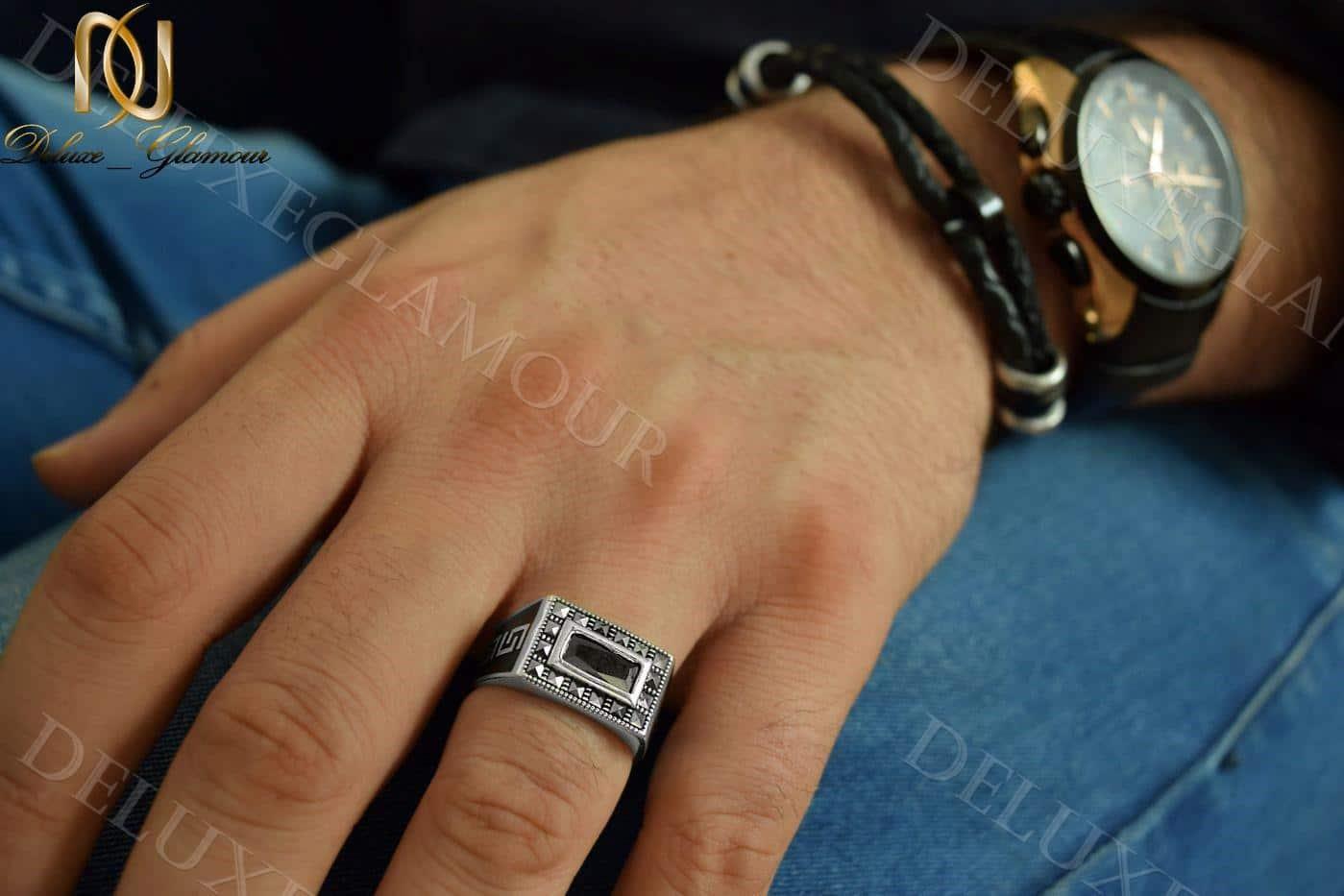 انگشتر نقره مردانه با نگین عقیق و مارکازیت Rg-n208(5)