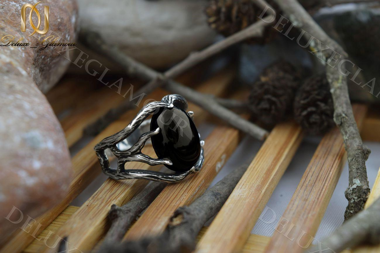 انگشتر نقره مردانه سیاه قلم طرح شاخه نگین عقیق Rg-n214 (2)