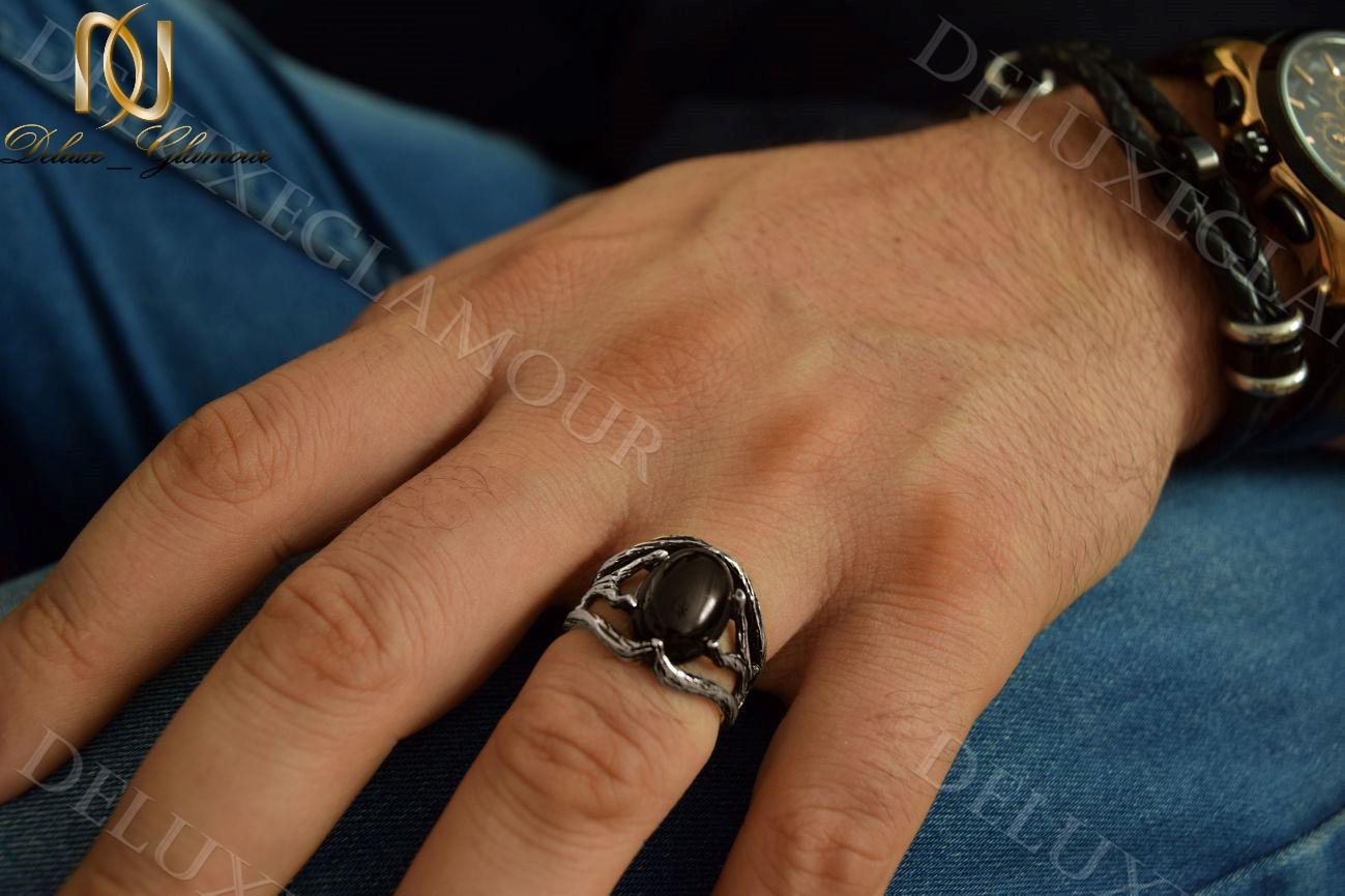 انگشتر نقره مردانه سیاه قلم طرح شاخه نگین عقیق Rg-n214 (3)