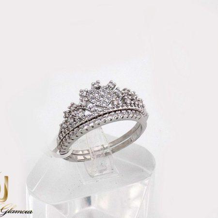 حلقه و پشت حلقه جواهری طرح تاج با نگین های  سواروسکی rg-n231