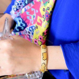 دستبند النگویی جواهری نقره طرح پلنگی Ds-n222 - روی دست