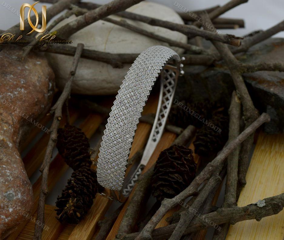 دستبند النگویی جواهری نقره Ds-n221 - روی چوب