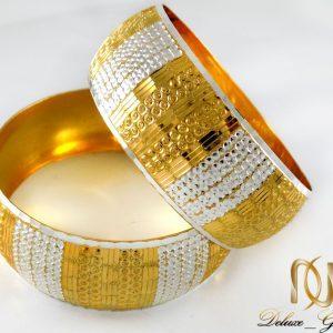 دستبند النگویی نقره زنانه دو رنگ با روکش آب طلا al-n105 از نمای نزدیک