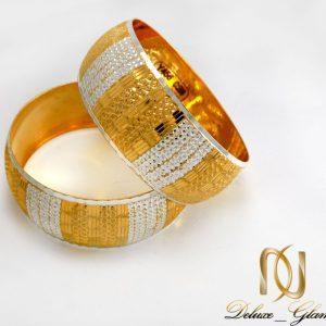 دستبند النگویی نقره زنانه دو رنگ با روکش آب طلا al-n105 از نمای دور