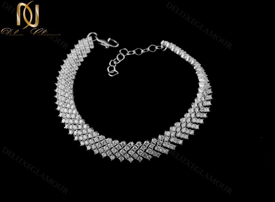 خرید دستبند بند ساعتی نقره زنانه جواهر DS-N220 - زمینه مشکی
