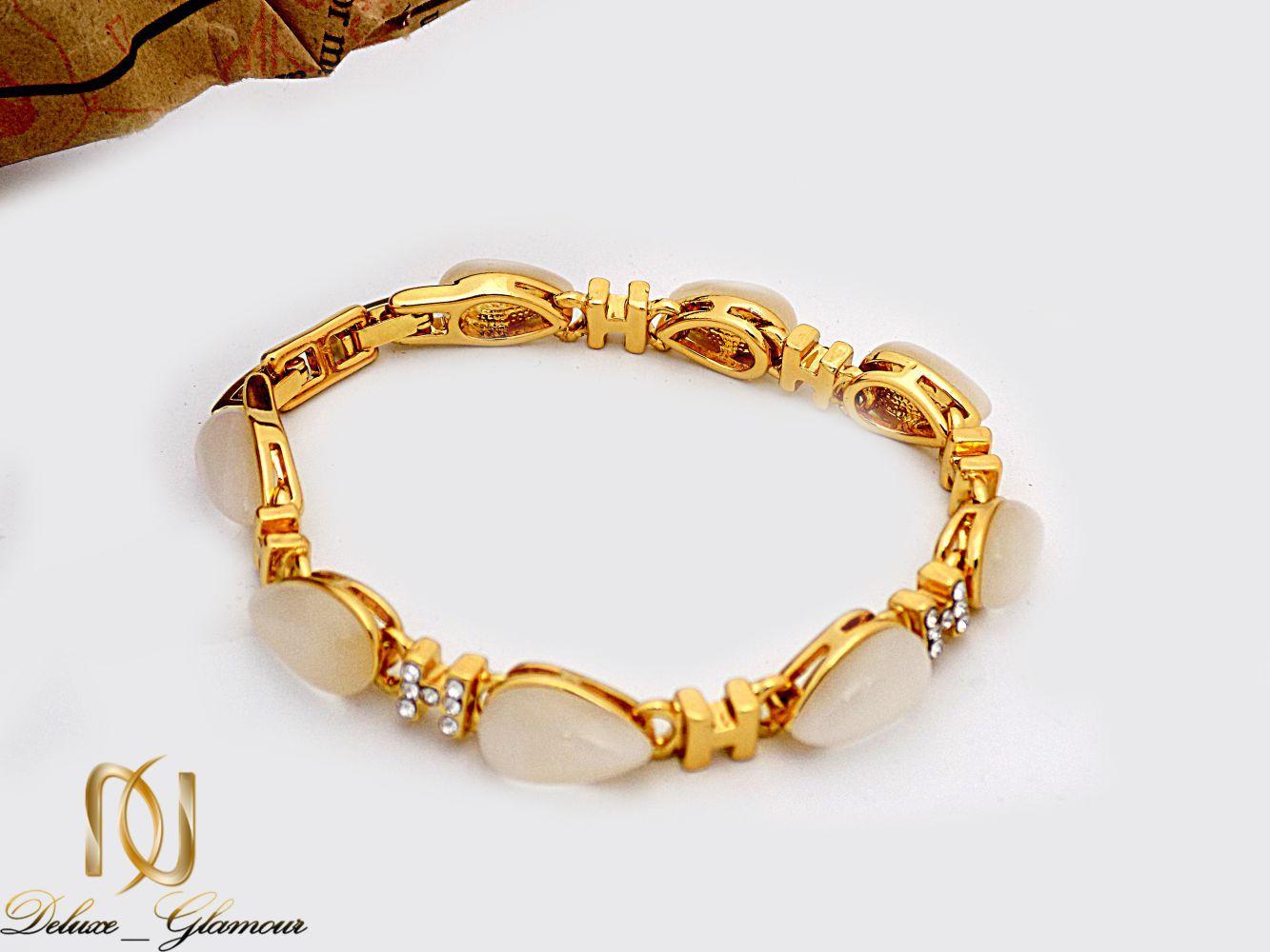 دستبند دخترانه جواهری کلیو با نگین های اپال سواروسکی ds-n226 از نمای روبرو