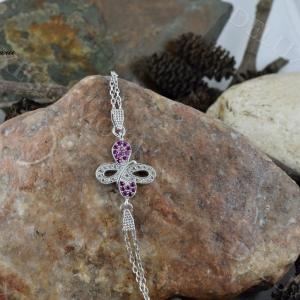 دستبند دخترانه نقره طرح پروانه با نگین بنفش Ds-n219 - روی سنگ