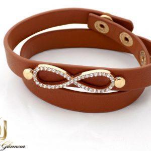 خرید دستبند چرم دخترانه قهوه ای با طرح بی نهایت ds-n231