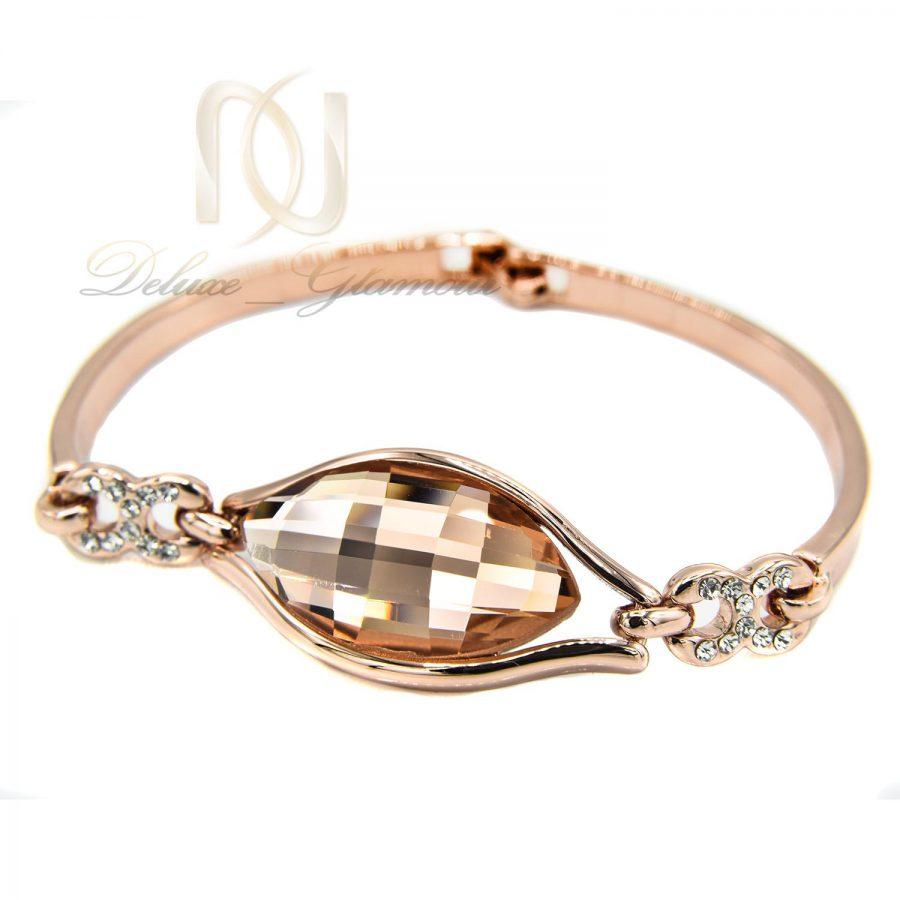 دستبند زنانه رزگلد کلیو با نگین های سواروسکی اصل ds-n217 از نمای سفید جدید