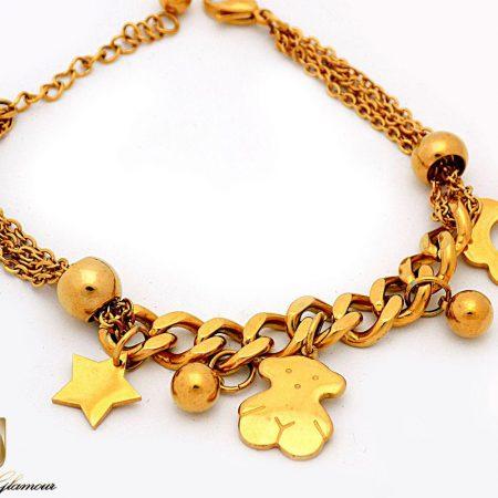 دستبند زنانه طرح طلای آویز دار با روکش آب طلای 18 عیار ds-n227 از نمای پایین