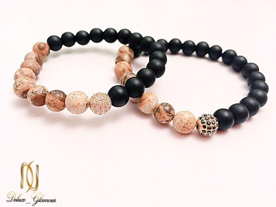 دستبند ست دخترانه و پسرانه سنگ اونيكس و جاسپر ds-n225 از نمای روبرو