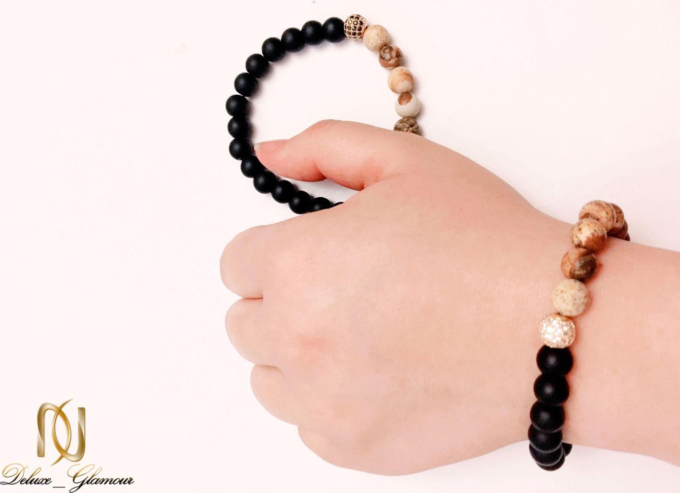 دستبند ست دخترانه و پسرانه سنگ اونيكس و جاسپر ds-n225 از نمای بالا