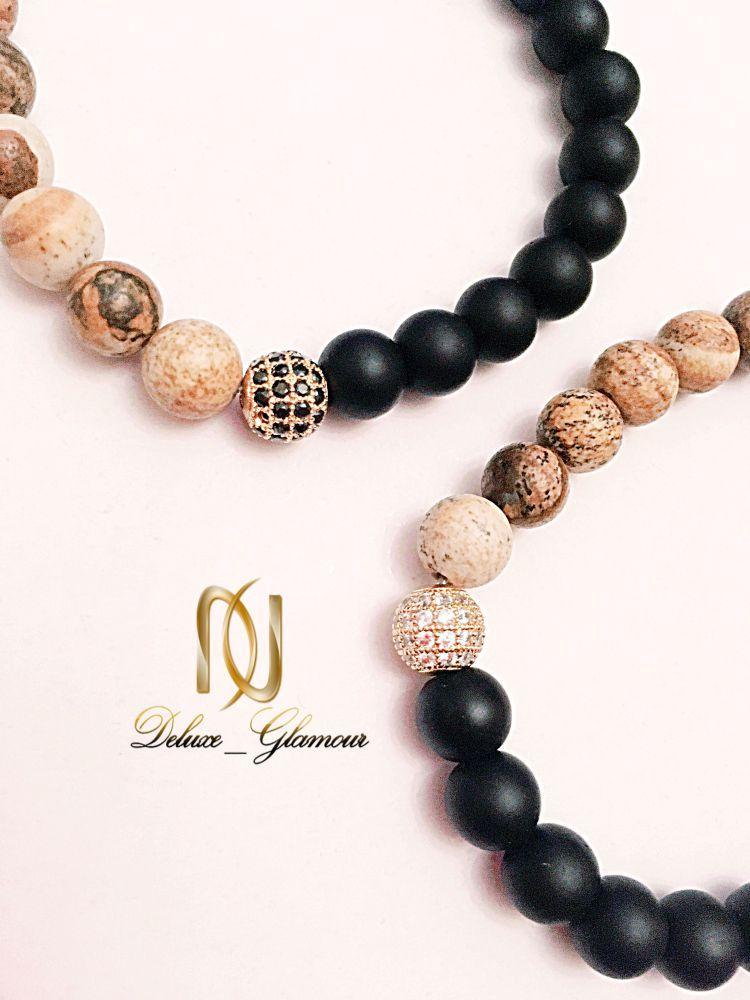 دستبند ست دخترانه و پسرانه سنگ اونيكس و جاسپر ds-n22 از نمای نزدیک