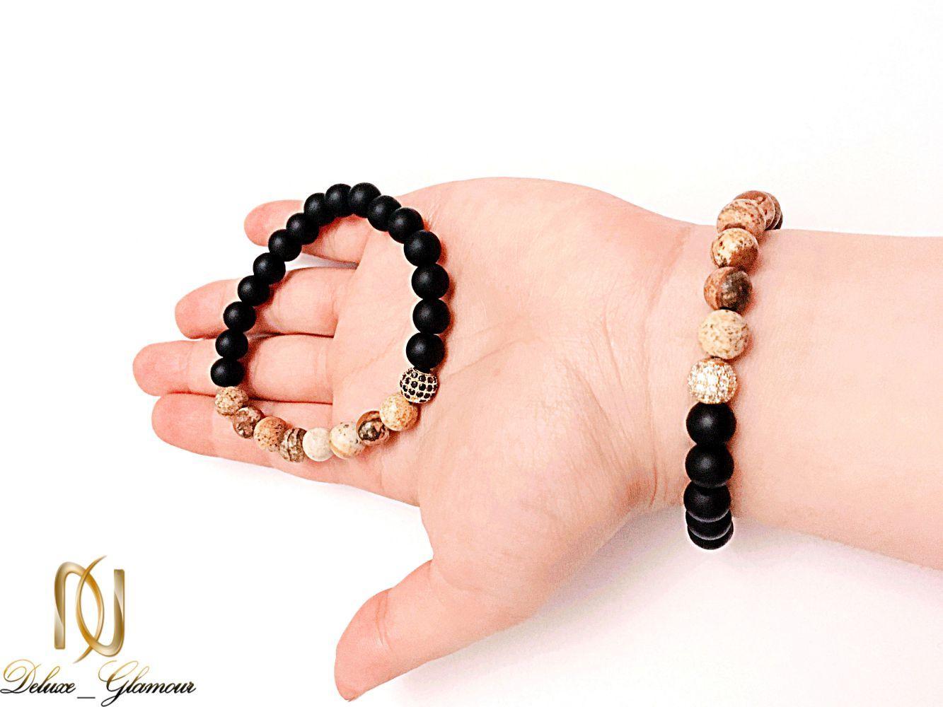 دستبند ست دخترانه و پسرانه سنگ اونيكس و جاسپر ds-n225 از نمای روی دست