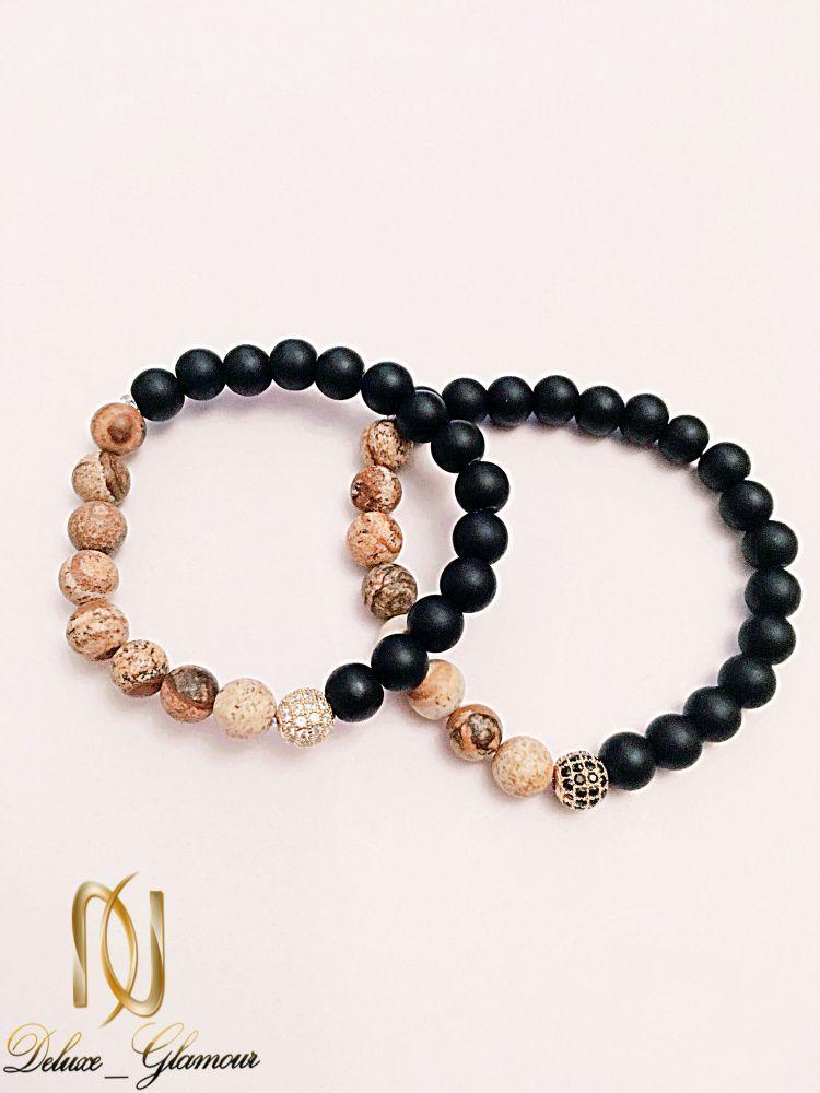 دستبند ست دخترانه و پسرانه سنگ اونيكس و جاسپر ds-n225. از نمای مشکی