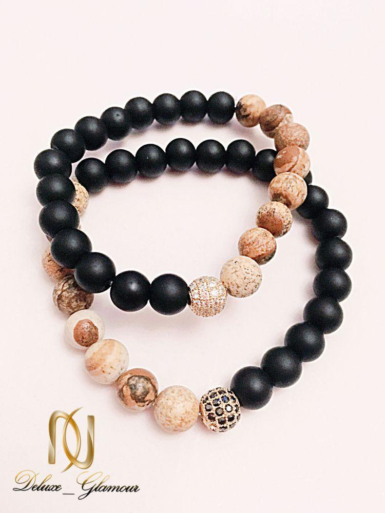 دستبند ست دخترانه و پسرانه سنگ اونيكس و جاسپر ds-n225 از نمای کنار