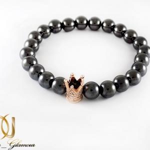 دستبند مردانه اسپرت طرح کینگ با مهره های فلزی ds-n218 از نمای روبرو