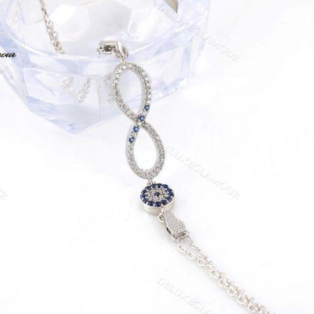 دستبند نقره دخترانه بینهایت و چشم نظر Ds-n222
