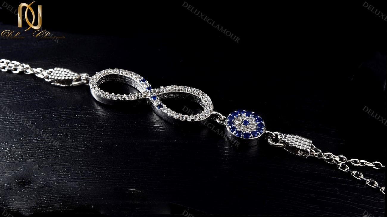 دستبند نقره دخترانه بینهایت و چشم نظر Ds-n222 - زمینه مشکی