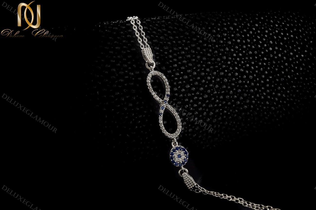 دستبند نقره دخترانه بینهایت و چشم نظر Ds-n222 - عکس با زمینه تیره
