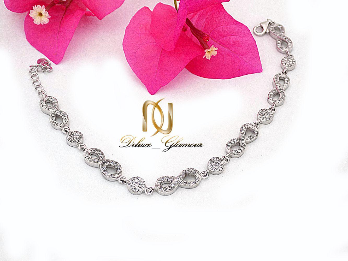 دستبند نقره دخترانه طرح بی نهایت با نگین های برلیان اتمی ds-n233
