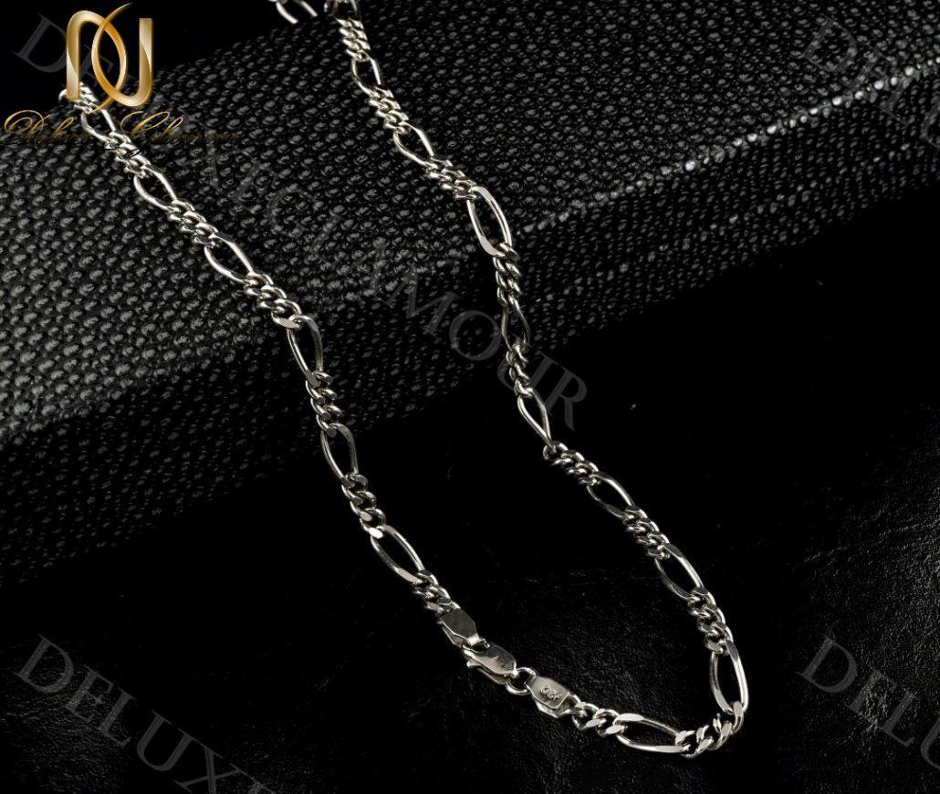 زنجیر مردانه نقره طرح فیگارو Nw-n238 - زمینه مشکی