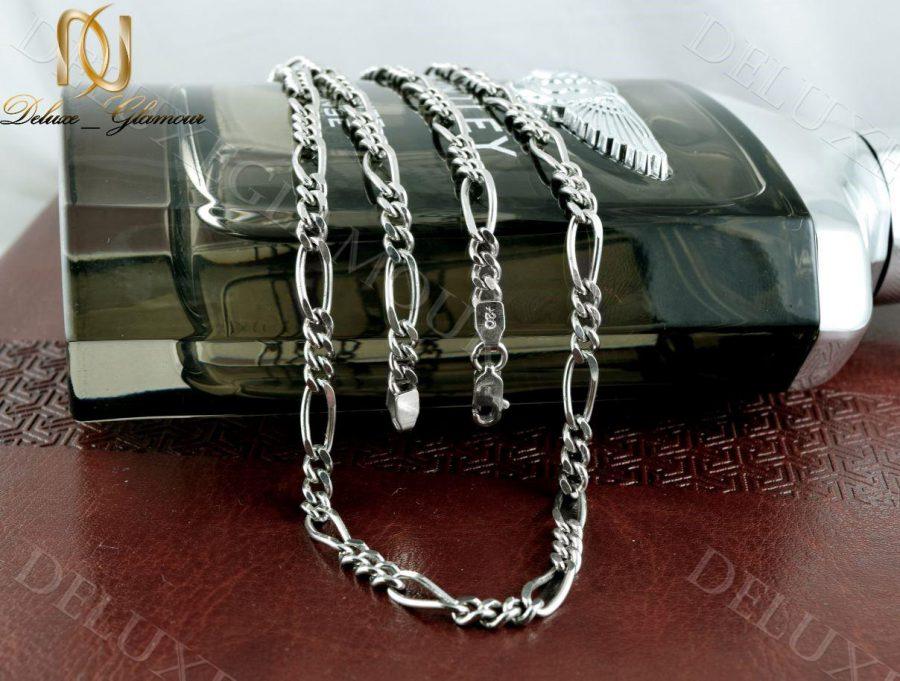خرید زنجیر مردانه نقره طرح فیگارو Nw-n238 - زمینه رنگی