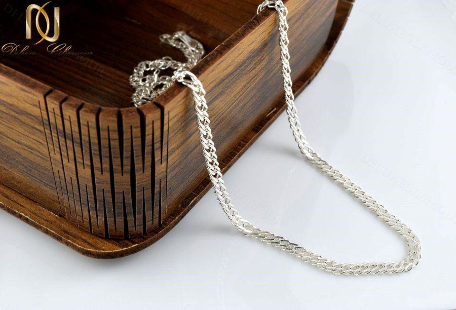 خرید زنجیر مردانه نقره طرح یاس Nw-n240 - داخل جعبه
