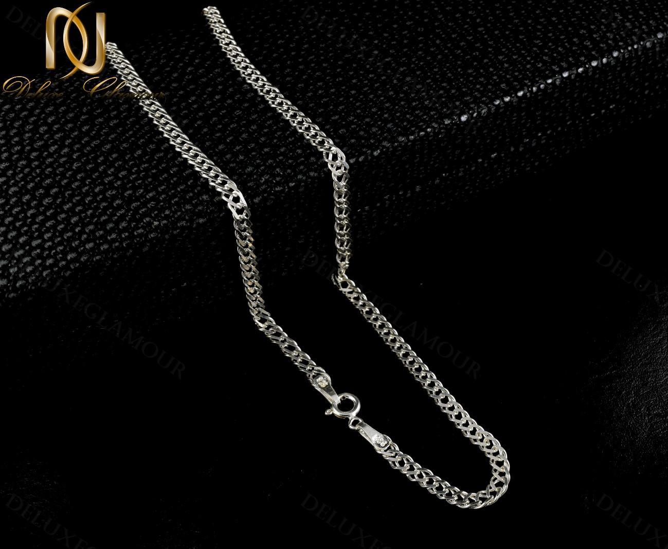 زنجیر مردانه نقره طرح یاس Nw-n240 - زمینه مشکی