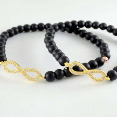 ست دستبند دخترانه و پسرانه بی نهایت سنگ اونیکس ds-n224 از نمای روبرو