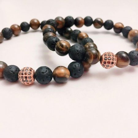 ست دستبند دخترانه و پسرانه سنگ لاوا و چشم ببري ds-n223 از نمای روبرو