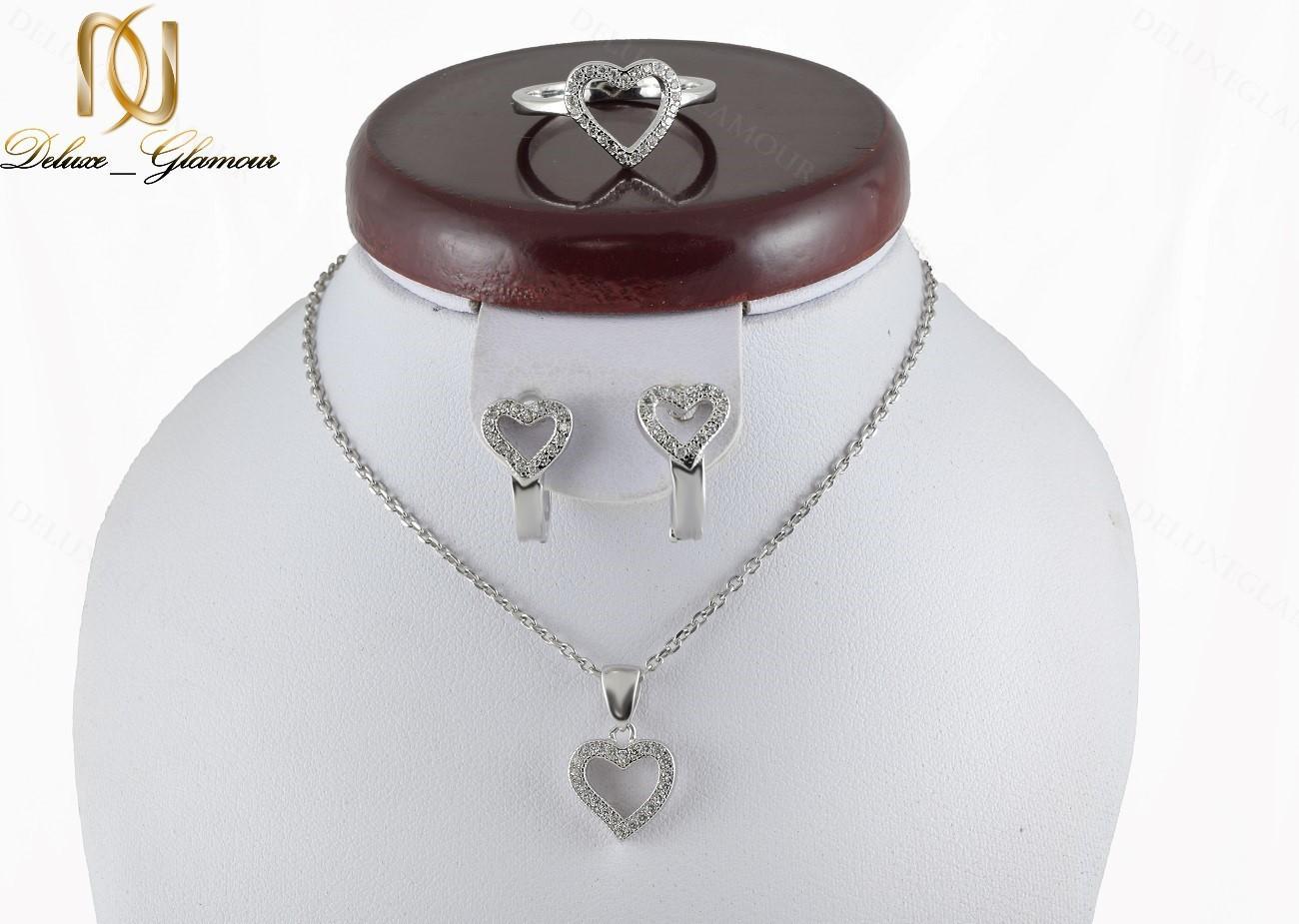 سرویس طرح قلب نقره دخترانه با برلیان اتمی اصل Se-n135 - عکس اصلی