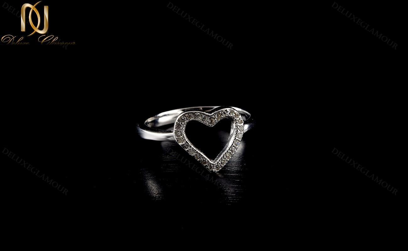 سرویس طرح قلب نقره دخترانه با برلیان اتمی اصل Se-n135 - زمینه مشکی