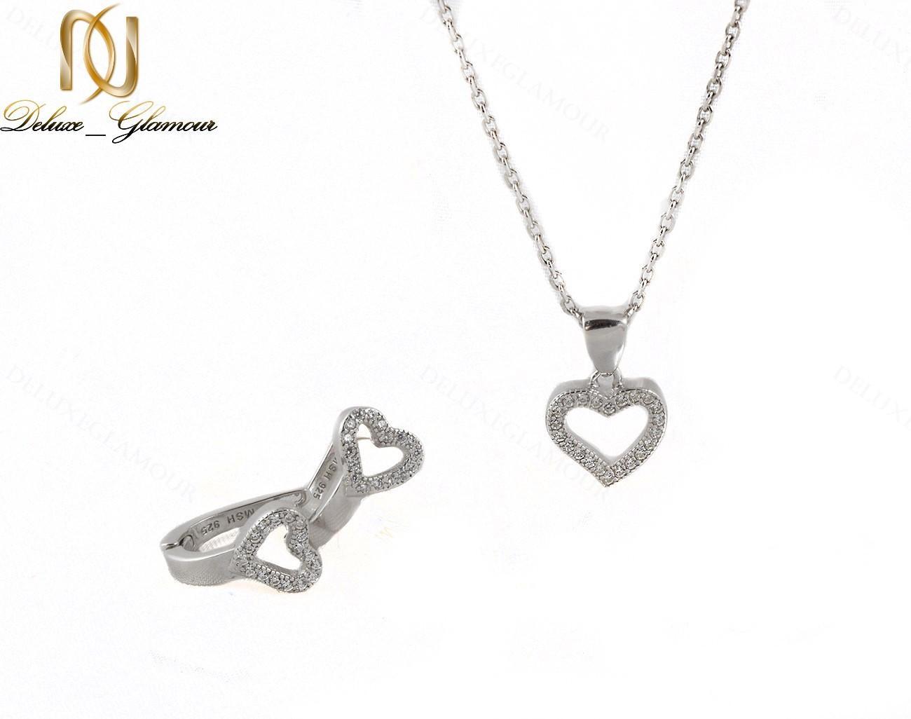 سرویس طرح قلب نقره دخترانه با برلیان اتمی اصل Se-n135 - گوشواره و گردنبند