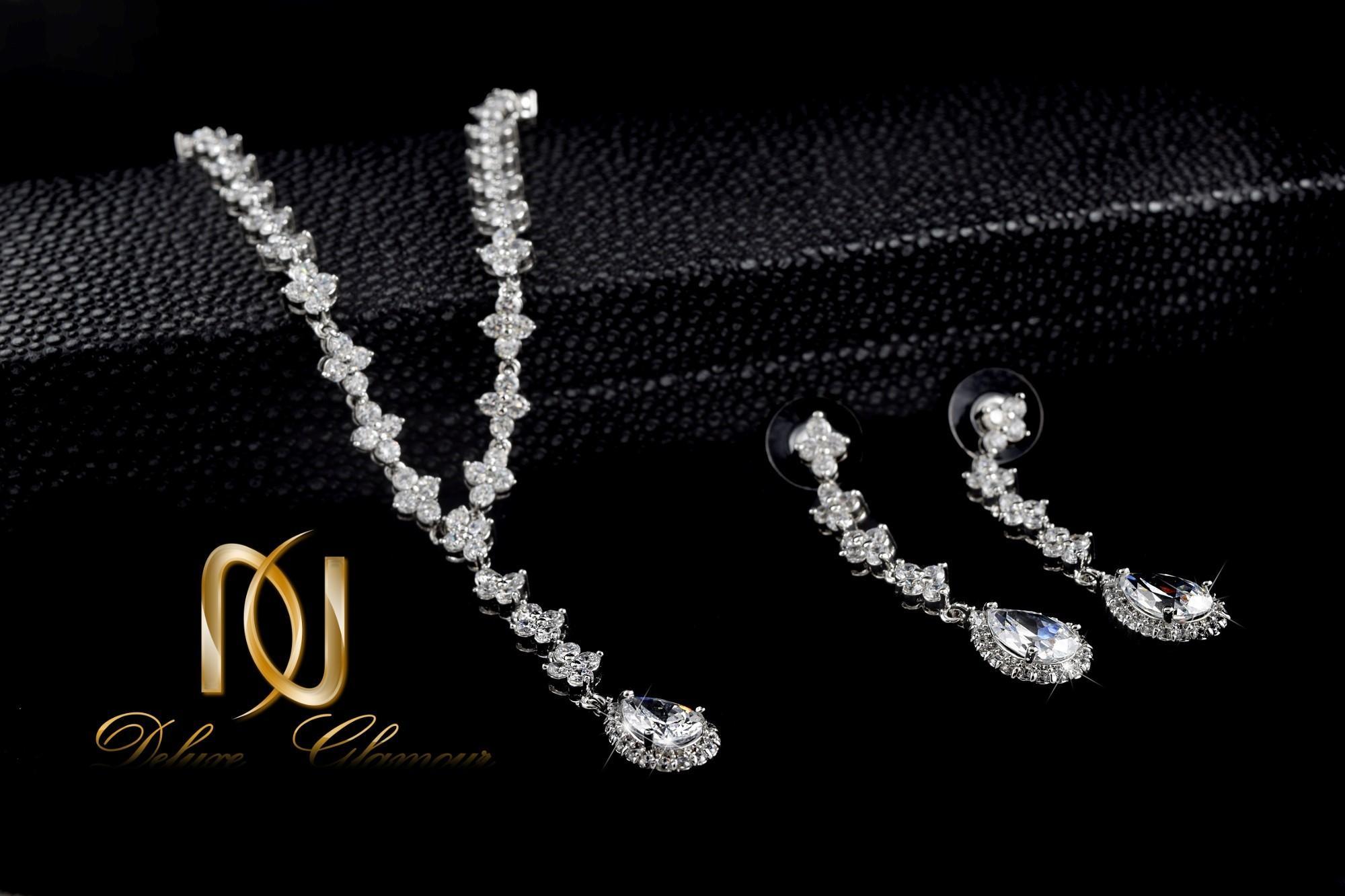 نیم ست جواهري عروس کلیو با کریستالهای سواروسکی Ns-n202 (1)