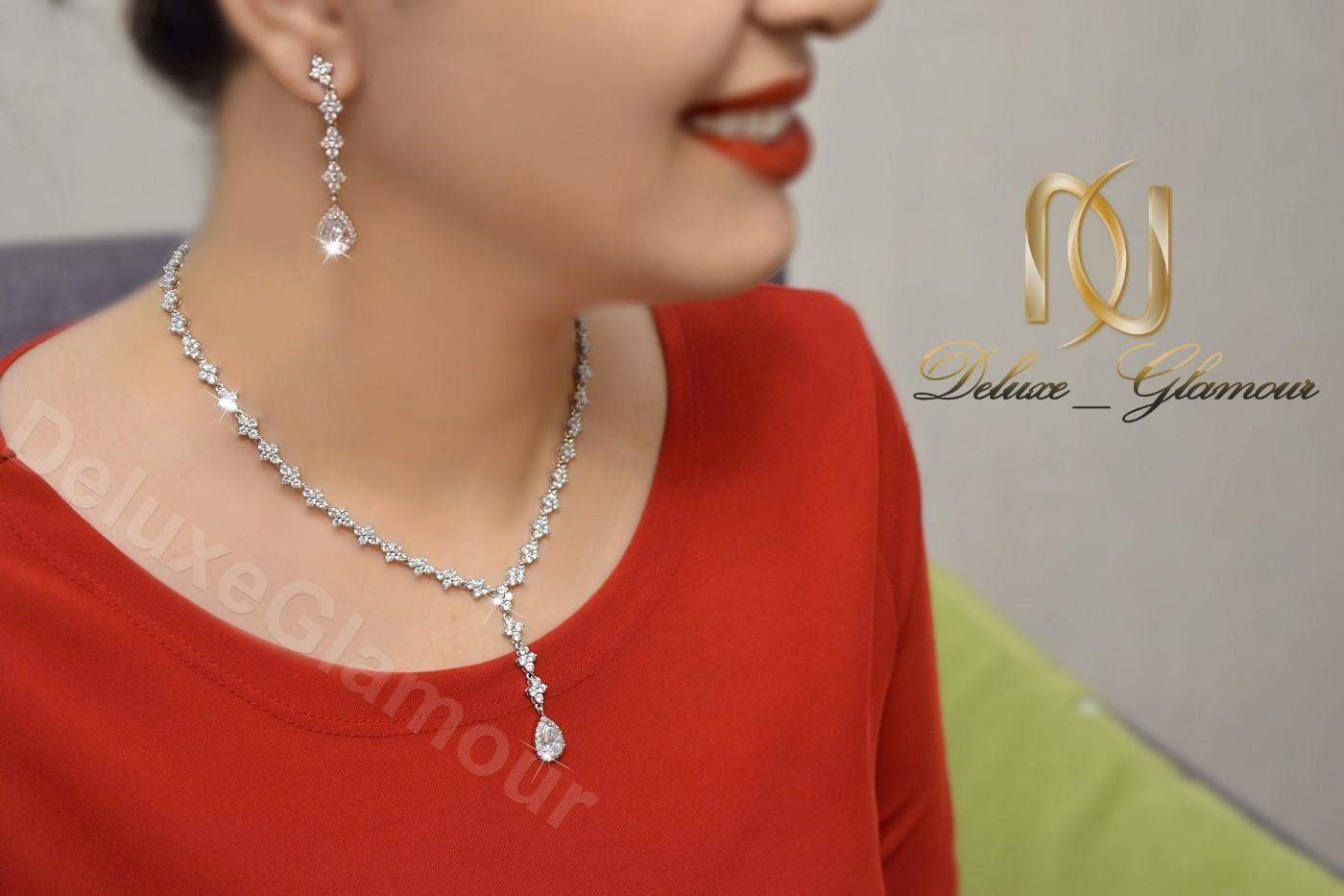 نیم ست جواهري عروس کلیو با کریستالهای سواروسکی Ns-n202 - عکس روی بدن