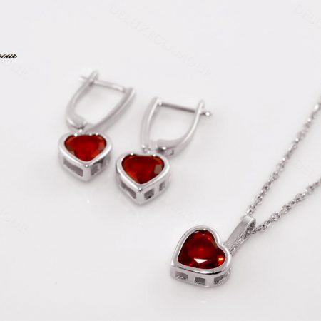 نیم ست دخترانه نقره طرح قلب با کریستال سواروسکی Ns-n194 - عکس اصلی