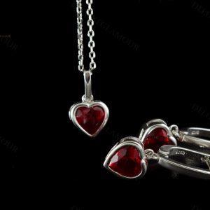نیم ست دخترانه نقره طرح قلب با کریستال سواروسکی Ns-n194 - زمینه مشکی