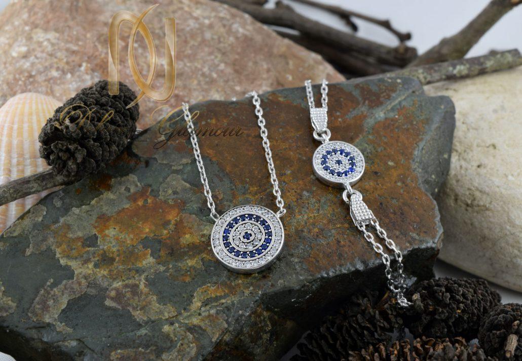 خرید نیم ست دستبند و گردنبند چشم نظر نقره ns-n193 روی سنگ