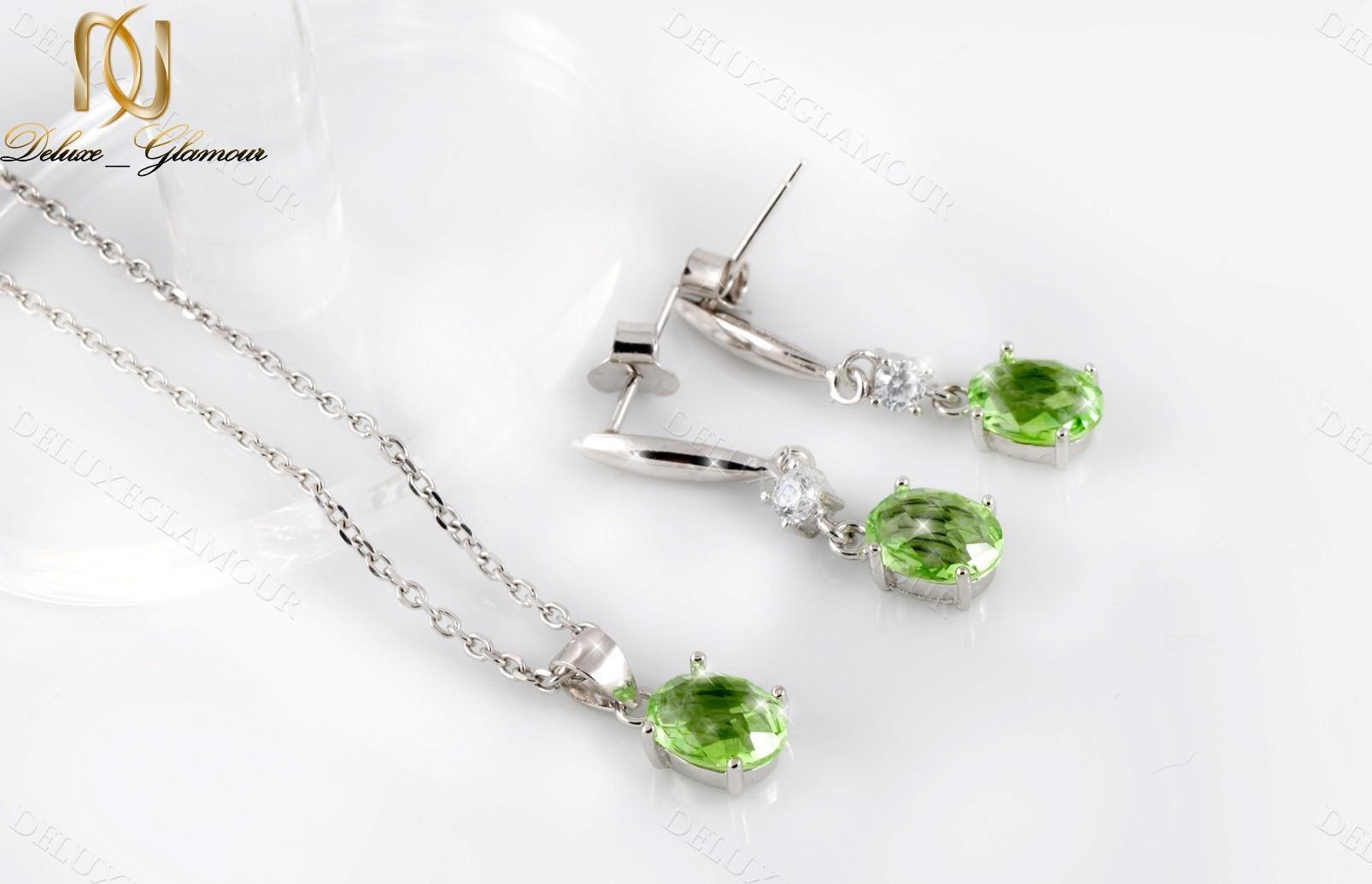 خرید نیم ست نقره زنانه با کریستال سواروسکی سبز Ns-n201 - عکس اصلی
