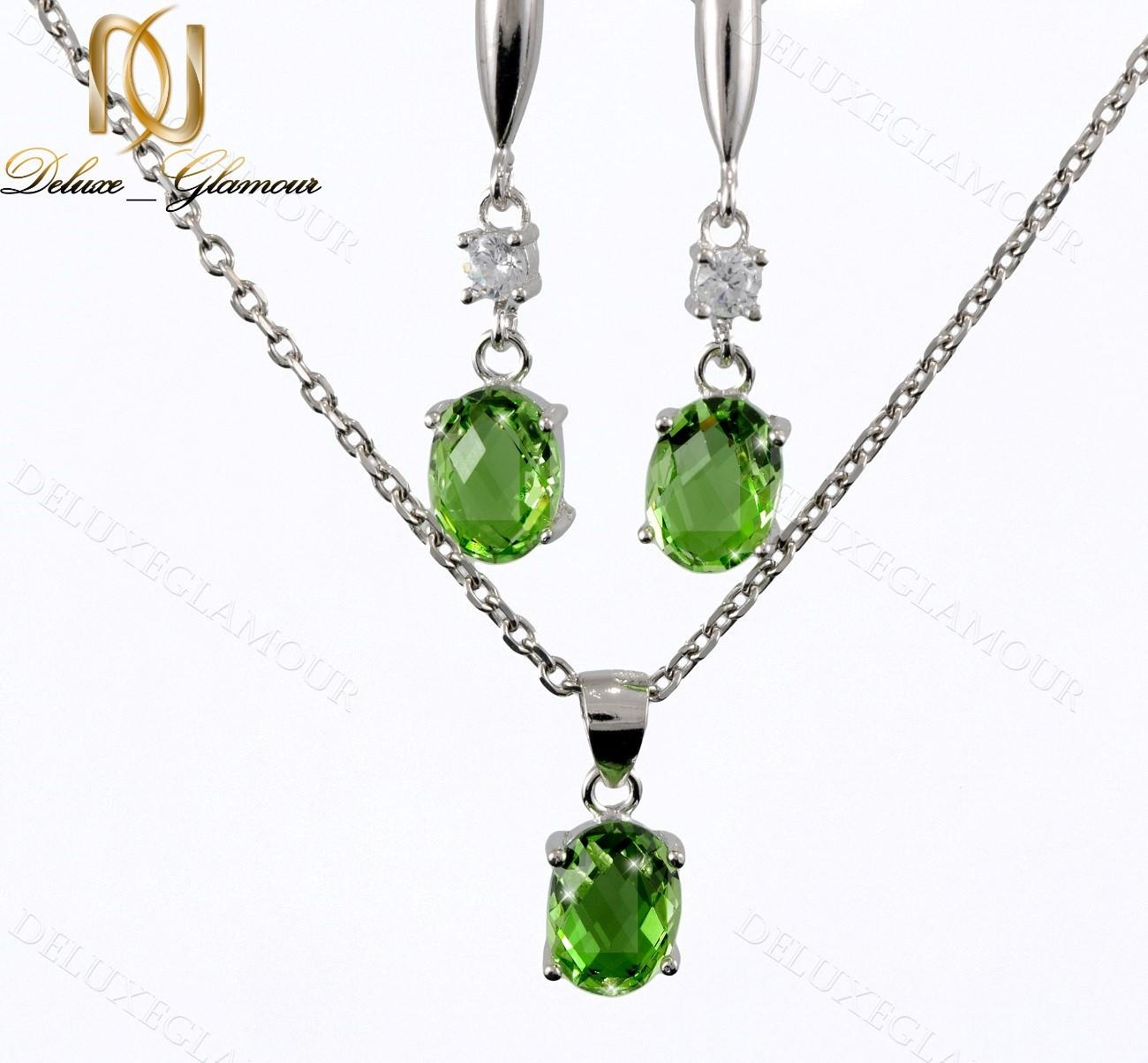نیم ست نقره زنانه با کریستال سواروسکی سبز Ns-n201 (2)