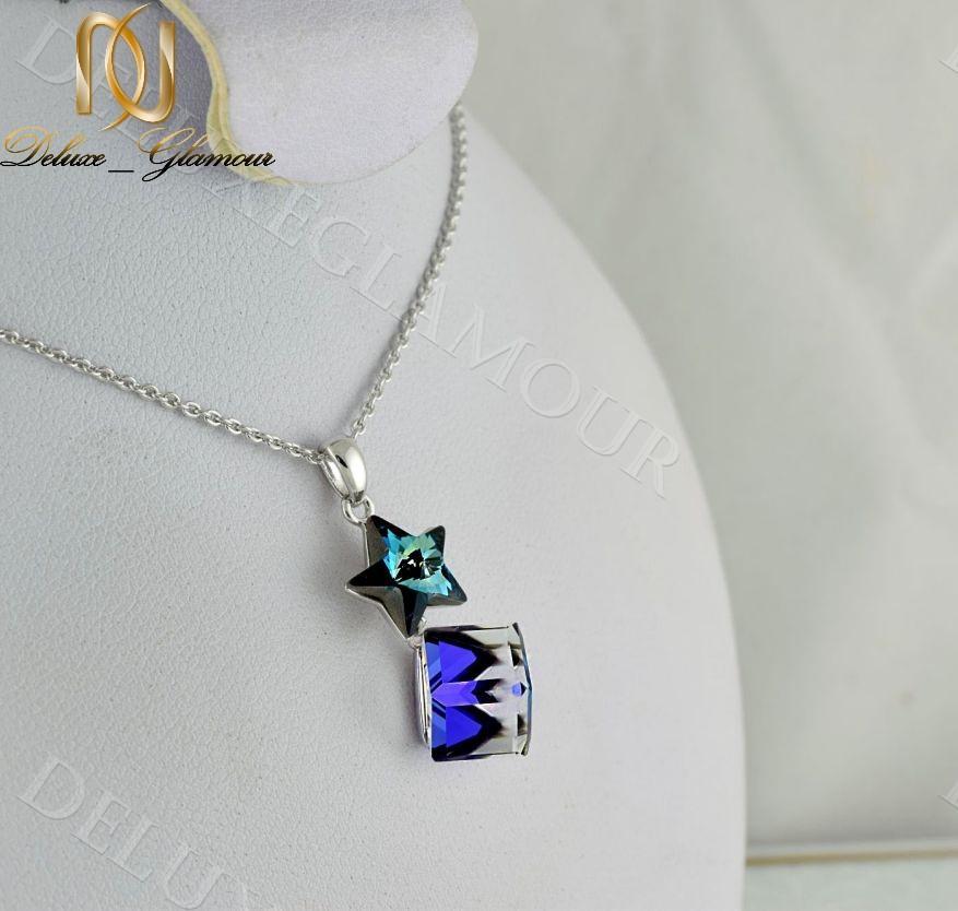 گردنبند دخترانه طرح ستاره با نگین هفت رنگ سواروسکی Nw-n228 - عکس اصلی