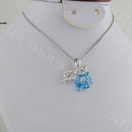 خرید گردنبند دخترانه طرح گیلاس با کریستال سواروسکی آبی Nw-n232 - عکس اصلی
