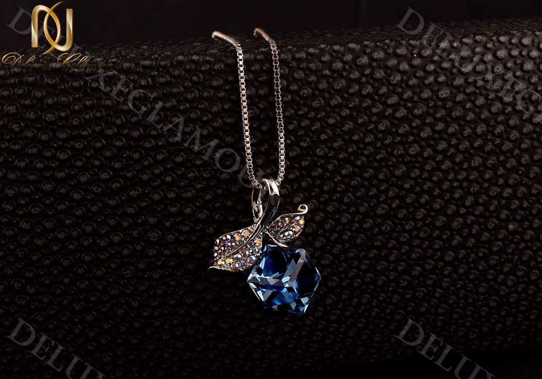 گردنبند دخترانه طرح گیلاس با کریستال سواروسکی آبی Nw-n232 (4)
