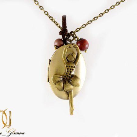 گردنبند رومانتویی برنزی دخترانه طرح قاب عکس nw-n223 از نمای روبرو