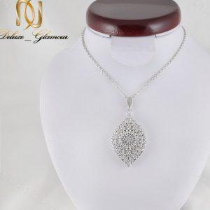 گردنبند زنانه نقره جواهری نگین دار طرح اشک Nw-n241 - عکس اصلی
