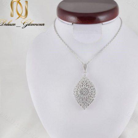 گردنبند زنانه نقره جواهری نگین دار طرح اشک Nw-n241