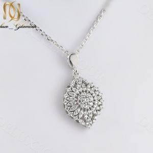 گردنبند زنانه نقره جواهری نگین دار طرح گل Nw-n235 - عکس اصلی