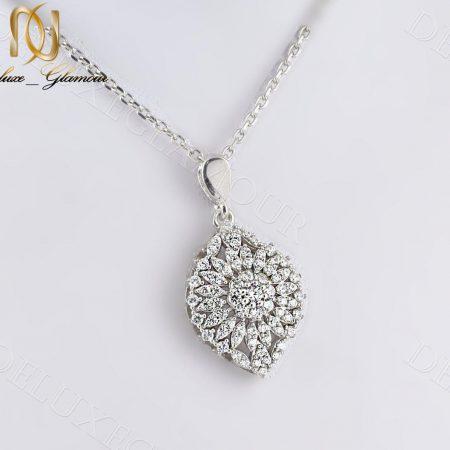گردنبند زنانه نقره جواهری نگین دار طرح گل Nw-n235